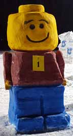 Lego Man Snow Sculpture